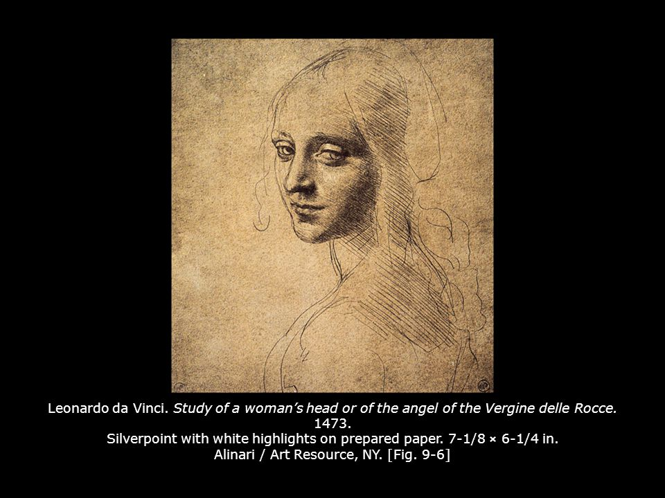 Leonardo da Vinci. Study of a woman's head or of the angel of the Vergine delle Rocce. 1473. Silverpoint with white highlights on prepared paper. 7-1/8 × 6-1/4 in. Alinari / Art Resource, NY. [Fig. 9-6]